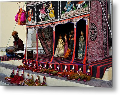 Puppet Show City Palace Jaipur India Metal Print by Diane Lent