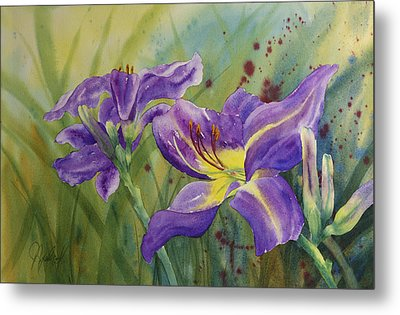 Purple Day Lily Metal Print