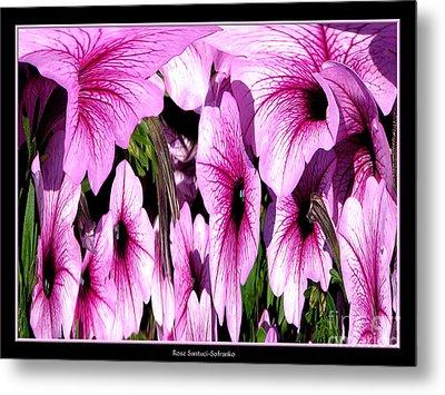 Purple Petunias Abstract Metal Print by Rose Santuci-Sofranko