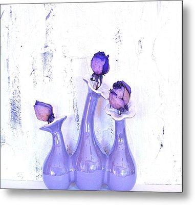 Purple Vases And Roses Metal Print by Marsha Heiken