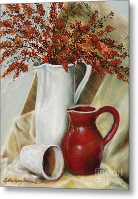 Metal Print featuring the painting Pyracantha by Cynthia Parsons