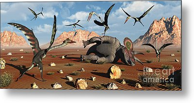 Quetzalcoatlus Scavage At The Remains Metal Print by Mark Stevenson