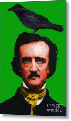 Quoth The Raven Nevermore - Edgar Allan Poe - Painterly - Green - Standard Size Metal Print by Wingsdomain Art and Photography