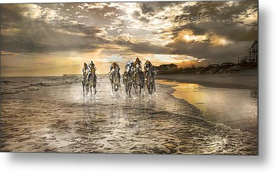 Racing Down The Stretch Metal Print by Betsy Knapp