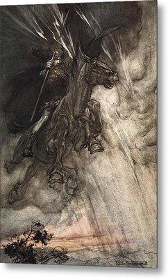 Raging, Wotan Rides To The Rock! Like Metal Print by Arthur Rackham