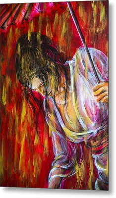 Metal Print featuring the painting Rain Geisha Red by Nik Helbig