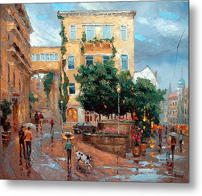 Metal Print featuring the painting Rain In Baden Baden by Dmitry Spiros