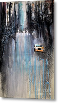 Metal Print featuring the drawing Rain In New York by Maja Sokolowska