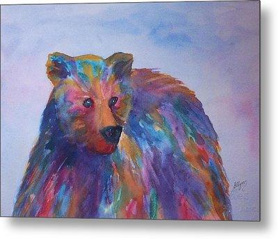 Rainbow Bear Metal Print by Ellen Levinson