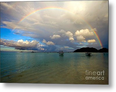 Rainbow In The Seychelles Metal Print by Tim Holt
