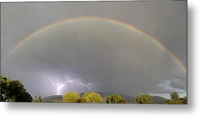 Rainbow Over Lightening Metal Print