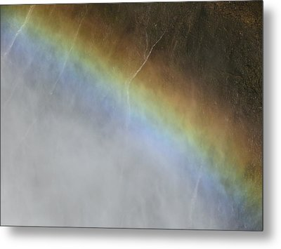 Metal Print featuring the photograph Rainbow Over The Falls by Laurel Powell
