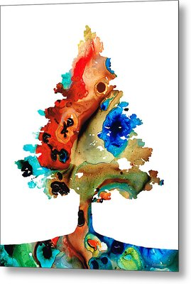 Rainbow Tree 2 - Colorful Abstract Tree Landscape Art Metal Print