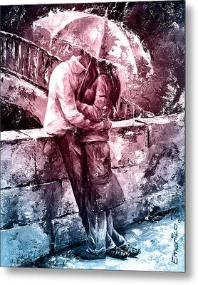 Rainy Day - Love In The Rain #color01 Metal Print by Emerico Imre Toth