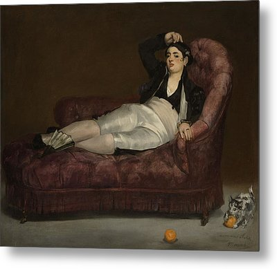 Reclining Young Woman In Spanish Metal Print by Edouard Manet