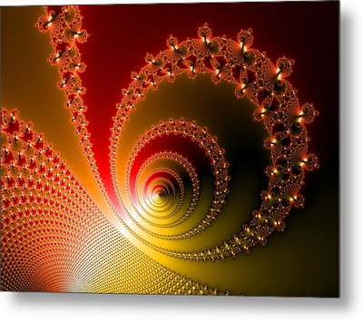 Red And Yellow Abstract Fractal Metal Print by Matthias Hauser