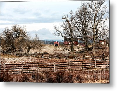 Red Barn In The Field Metal Print by John Rizzuto