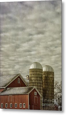 Red Barn On Cloudy Day Metal Print by Birgit Tyrrell