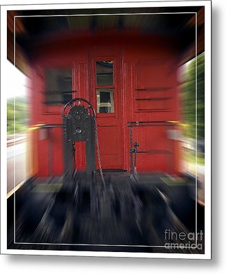 Red Caboose Metal Print by Edward Fielding