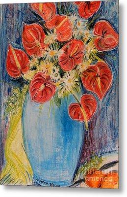 Red Calla Lilies Metal Print by Caroline Street