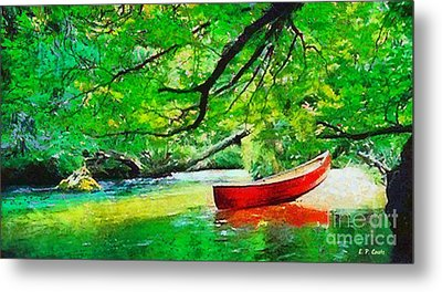 Red Canoe Metal Print by Elizabeth Coats