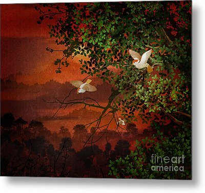 Red Dawn Sparrows Metal Print by Bedros Awak