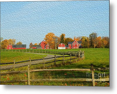 Red Farm House And Barns Metal Print by Jim Lepard