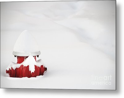 Red Fired Hydrant Buried In The Snow. Metal Print by Oscar Gutierrez