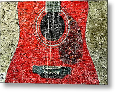 Red Guitar Center - Digital Painting - Music Metal Print by Barbara Griffin