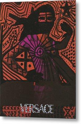 Red Medusa Pop Graffiti Model Metal Print by Edward X