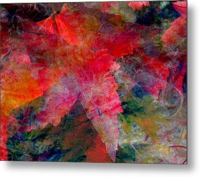 Metal Print featuring the painting Red Nature Abstract Autumn Leaf by John Fish