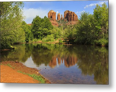 Red Rock Reflection Metal Print by Mike Lang