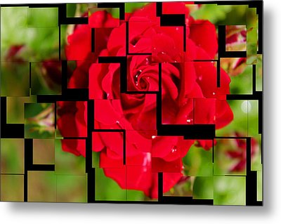 Red Rose Puzzle Metal Print by Julia Fine Art And Photography