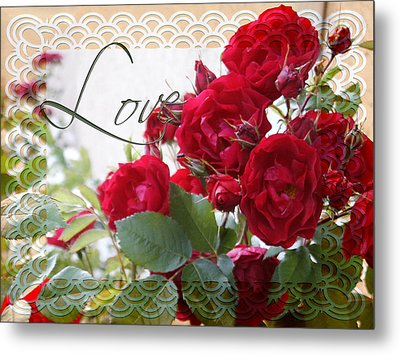 Metal Print featuring the photograph Red Roses Love And Lace by Sandra Foster