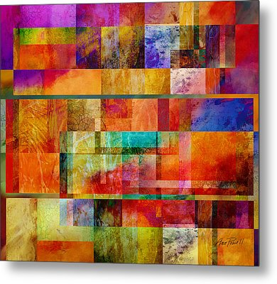 Red Squares Abstract Art Metal Print by Ann Powell