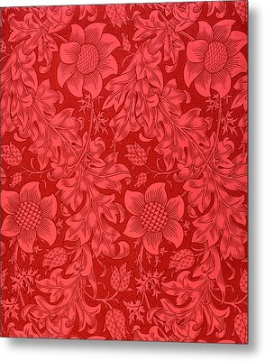 Red Sunflower Wallpaper Design, 1879 Metal Print