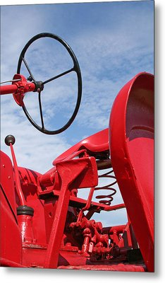 Red Tractor Metal Print by Heather Allen
