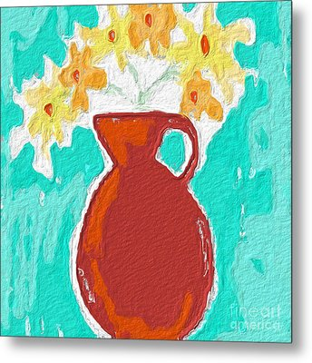 Red Vase Of Flowers Metal Print by Linda Woods