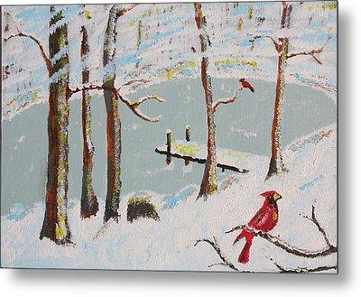 Redbird Winter Metal Print by Harold Greer