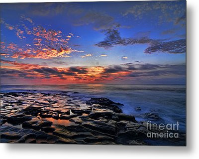 Sunset At Tide Pools At La Jolla Metal Print by Peter Dang