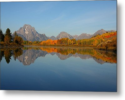 Reflection Of Mount Moran In Autumn Metal Print by Jetson Nguyen