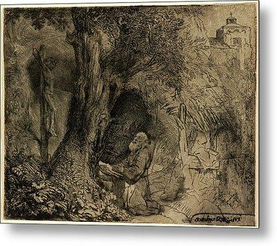 Rembrandt Van Rijn, Saint Francis Beneath A Tree Praying Metal Print by Litz Collection