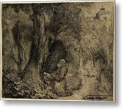 Rembrandt Van Rijn, Saint Francis Beneath A Tree Praying Metal Print by Quint Lox