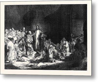 Rembrandts Hundred Guilder Piece Christ Healing The Sick Metal Print