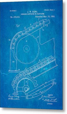 Reno Escalator Patent Art 1892 Blueprint Metal Print by Ian Monk