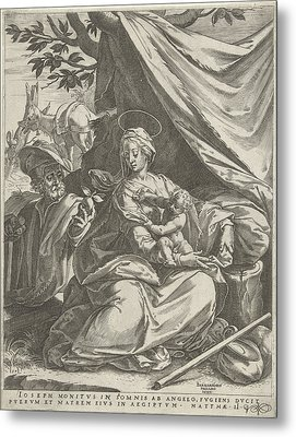 Rest On The Flight Into Egypt, Print Maker Cornelis Cort Metal Print