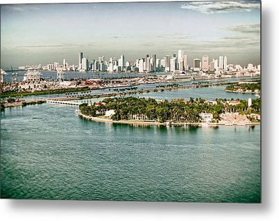 Metal Print featuring the photograph Retro Style Miami Skyline And Biscayne Bay by Gary Dean Mercer Clark