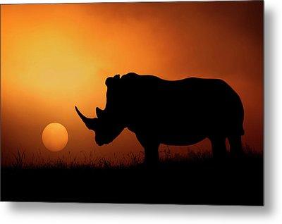 Rhino Sunrise Metal Print