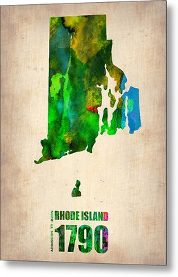 Rhode Island Watercolor Map Metal Print by Naxart Studio