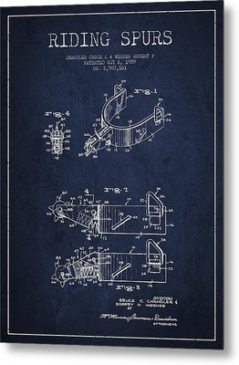 Riding Spurs Patent Drawing From 1959 - Navy Blue Metal Print
